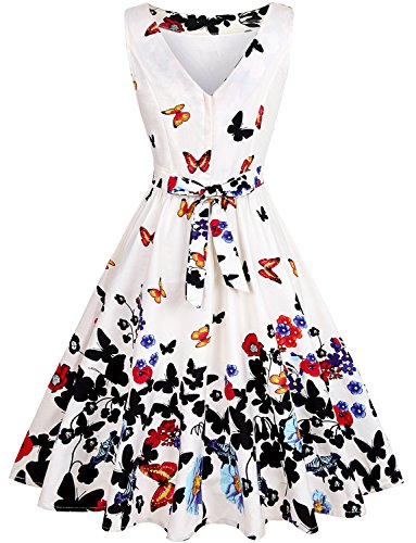 Pattern Rockabilly OWIN Swing Floral Butterfly Vintage 1950s Cocktail White Party Prom Butterfly Mild Dress Women's with 1IUqfIx7