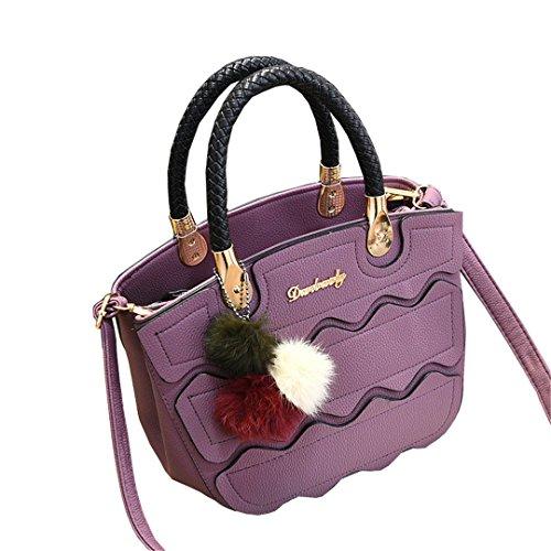 Wewod Mujeres Retro Bolso de Mensajero Bolsa de Bandolera de PU Cuero Bolsas de crossbody con asa y Colgante 25 x 20 x 12 cm (L*H*W) Deep Purple