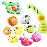 Bath Fishing Toy, Bath Toys for Toddlers Colorful Floating Fishing Games with Squirts Water Fish and Magnetic Fish Rod in Bathtub Pool Shower Kit for Baby Children Kids Boys Girls Gifts - 10 Pack