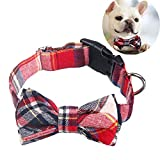 Dog Cat Collar, EYLEER Adjustable Plaid Pattern Cotton Bowtie Collar Bandana Pet Accessories for Puppy Dogs Cats Kittens (M, Red)