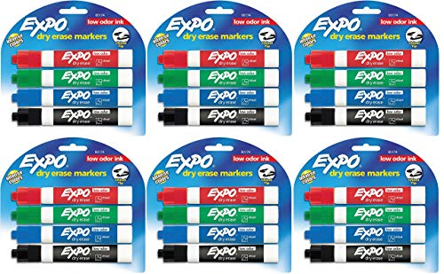 Expo 80174 Low Odor Chisel Point Dry Erase Marker Pack, Designed for Whiteboards, Glass and Most Non-Porous Surfaces, 4 Assorted Color Markers, Pack of 6 Blisters -