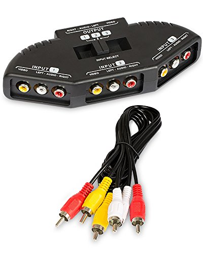 Fosmon A1602 RCA Splitter with 3-Way Audio, Video RCA Switch Box + RCA Cable for Connecting 3 RCA Output Devices to Your TV 3 Rca Component Video