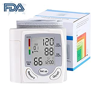 Wrist Blood Pressure Monitor - Digital Fully Automatic Measure Blood Pressure and Pulse for Home Travel, 2 User Mode ( 2 x 99 Memory ), Large LCD Display (White)