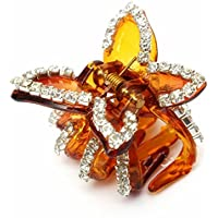 Coffee New Butterfly Crystal Rhinestone Claw Hairpin Women Hair Clamp Accessory Clip