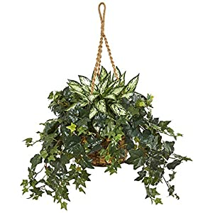 Nearly Natural 8420 30-in. Silver Queen and Ivy Artificial Hanging Basket Silk Plants Green 83
