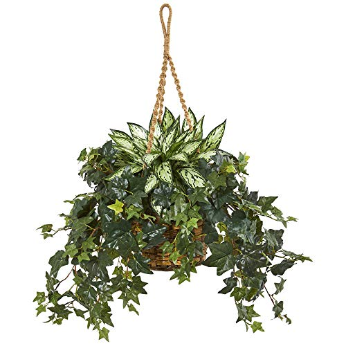 Nearly Natural 8420 30-in. Silver Queen and Ivy Artificial Hanging Basket Silk Plants Green