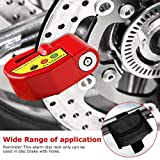 YOHOOLYO Alarm Disc Lock Motorcycle Disc Brake Lock Anti-theft Waterproof 110 dB 7mm Pin with 5ft Reminder Cable for Motorcycles Bike Scooter Bonus Carry Pouch