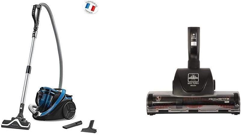 Rowenta Silence Force Cyclonic Classic RO7611EA Aspirador Trineo sin Bolsa, 750 W + Maxi Turbo ZR902201 - Cepillo para aspiradora, Elimina el Pelo de Mascotas y el Polvo en alfombras y moquetas: