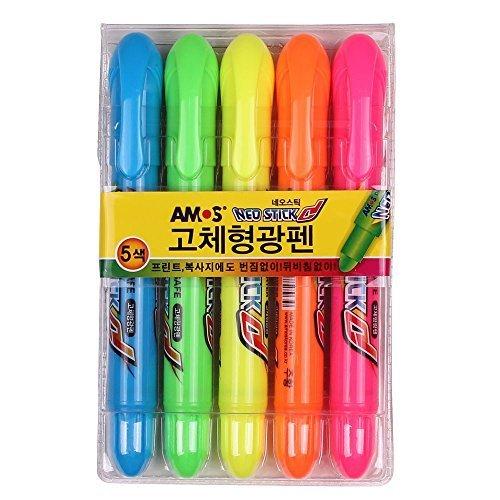 - Amos Neo Stick Dry Highlighter Ink Jet Safe, Solid Highlighter - 5 Colors Sets
