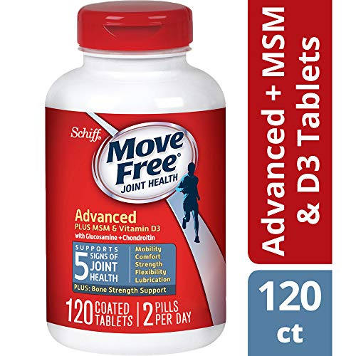 Glucosamine and Chondroitin Plus MSM & D3 Advanced Joint Health Supplement Tablets, Move Free (120 count in a bottle), Supports Mobility, Comfort, Strength, Flexibility and - Plus Joint Support 120 Tablets