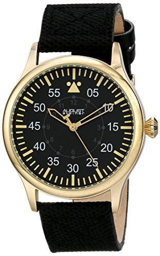 August Steiner Men's AS8125YG Yellow Gold Swiss Quartz Watch with Black Dial and Black Canvas over Nubuck Leather Strap