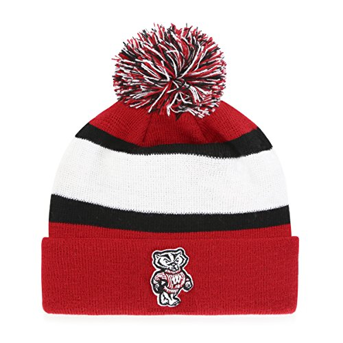 NCAA Wisconsin Badgers Rush Down OTS Cuff Knit Cap with Pom, Red, One Size