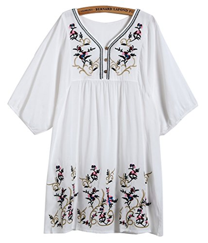 Kafeimali Women's T-shirt Tunic Dresses Mexican Embroidered Peasant Tops Blouses (White) Rena Tunic