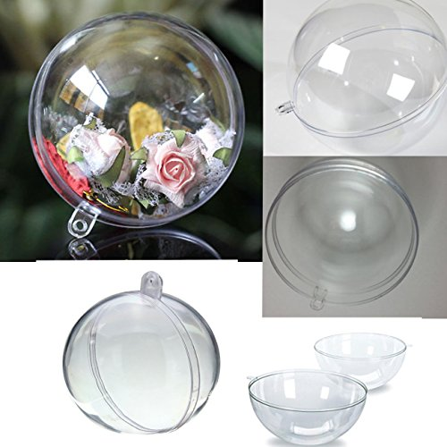 (Craftsor™ Clear Plastic Fill-able Ball Ornament - SET of 12 pcs with White Ribbon Included, Acrylic Style (70mm))