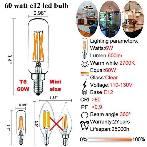 AC 120V Dimmable 2W Equal 25 Watt Light Bulb Warm White 2700K Tubular Vintage Shape for Chandeliers T30 T10 E12 Led Edison Bulb 3 Pack Pendant