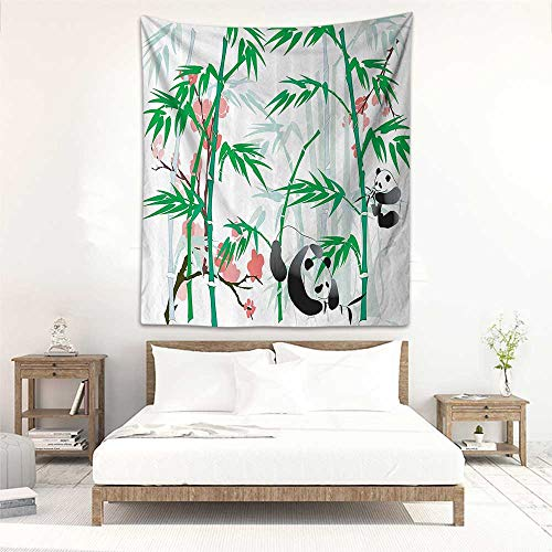 Godves Wall Tapestry Bamboo House Decor Collection Giant Woody Grass Bamboos and Panda Bear in Chinese Tropics Artsy Print Wall Hanging Carpet Throw 40