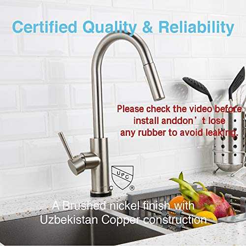 Touch On Kitchen Faucets with Pull Down Sprayer, Kitchen Sink Faucet with Pull Out Sprayer, Fingerprint Resistant, Single Hole Deck Mount, Single Handle Copper Kitchen Faucet, Brushed Nickel, FORIOUS by FORIOUS (Image #4)