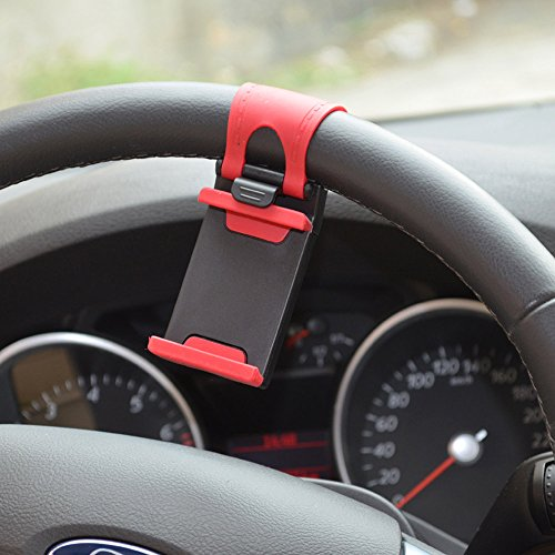 Docooler® Cell Phone Holder Mount Clip Buckle Socket Hands Free on Car Steering Wheel - Better View to Your iPhone 6 5S 5G 4 4S, HTC one, Samsung Galaxy S5 S4, Google Nexus 5 and Smart Cellphones - Black