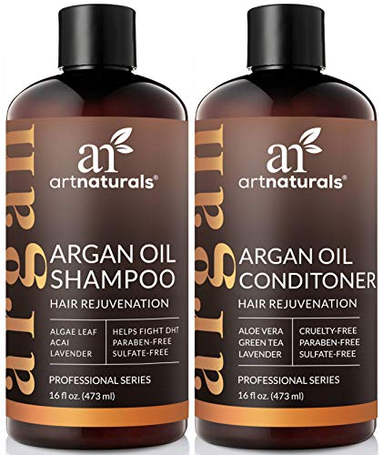 ArtNaturals Moroccan Argan Oil Hair Loss Shampoo & Conditioner Set - Hair Regrowth (2x16Oz) Sulfate Free- Treatment for Hair Loss, Thinning Hair & Hair Growth, Men & Women- Made W/Organic Ingredients