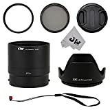 JW P600K 72mm UV Filter + CPL Filter + JJC Lens Hood + Lens Adapter Tube + Lens Cap + String Strap Stick Cap Keeper for Nikon Coolpix P600 P610 P610S B700 Camera + JWemall Micro Fiber Cleaning Cloth