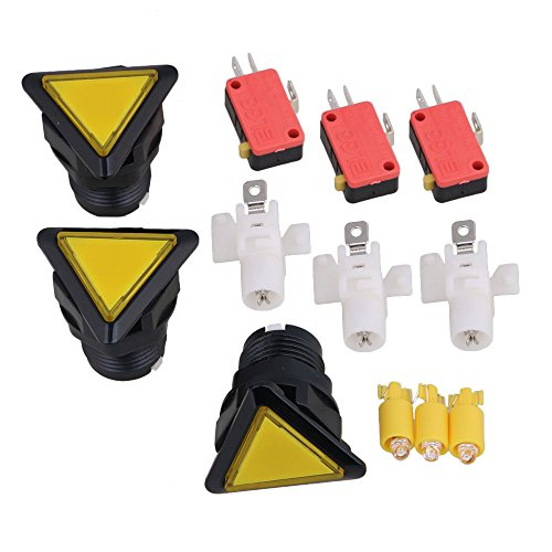 Homswitch Yellow Plastic Triangle Shape Arcade Push Button Game Console Button Pack of 3 ()