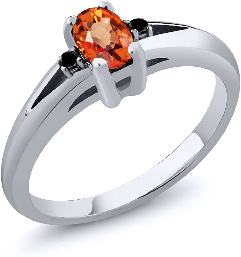 SVC-JEWELS 14K Black Gold Plated Princess Orange Sapphire Mens Wedding Band Ring