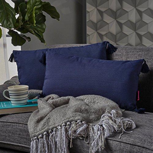 - Christopher Knight Home 302779 Noble Dark Blue Fabric Tassel Rectangular Throw Pillow (Set of 2),