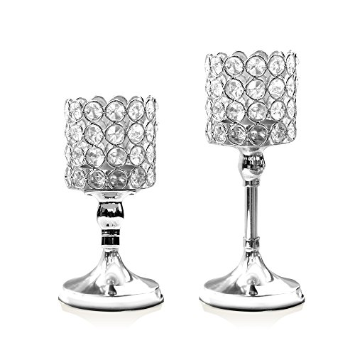 VINCIGANT Silver Cylinder Crystal Candle Holder Set of 2 for Wedding Table Centerpieces/Anniversary Celebration Modern Home Decor,8 and 10 Inches - Beaded Holder Candle