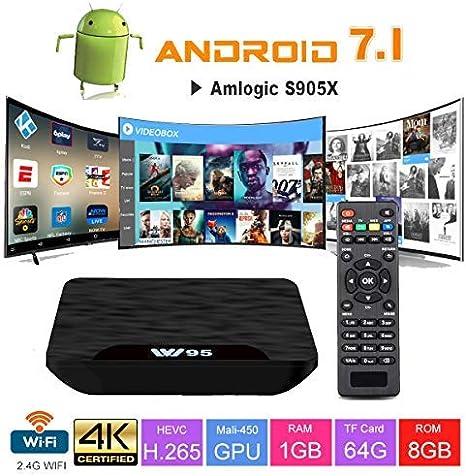 TV Box Android 7.1 - VIDEN W1 Smart TV Box Amlogic S905X Quad Core, 1GB RAM & 8GB ROM, 4K*2K UHD H.265, HDMI, USB*2, WiFi Media Player, Android Set-Top Box [Versión Mejorada]: