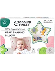 ToddlerFinest Newborn Baby Head Shaping Pillow   100% Organic Cotton Cushion For Flat Head Syndrome Prevention   Prevent Plagiocephaly   Best Perfect For Baby Boy & Girl   Baby Shower Gift