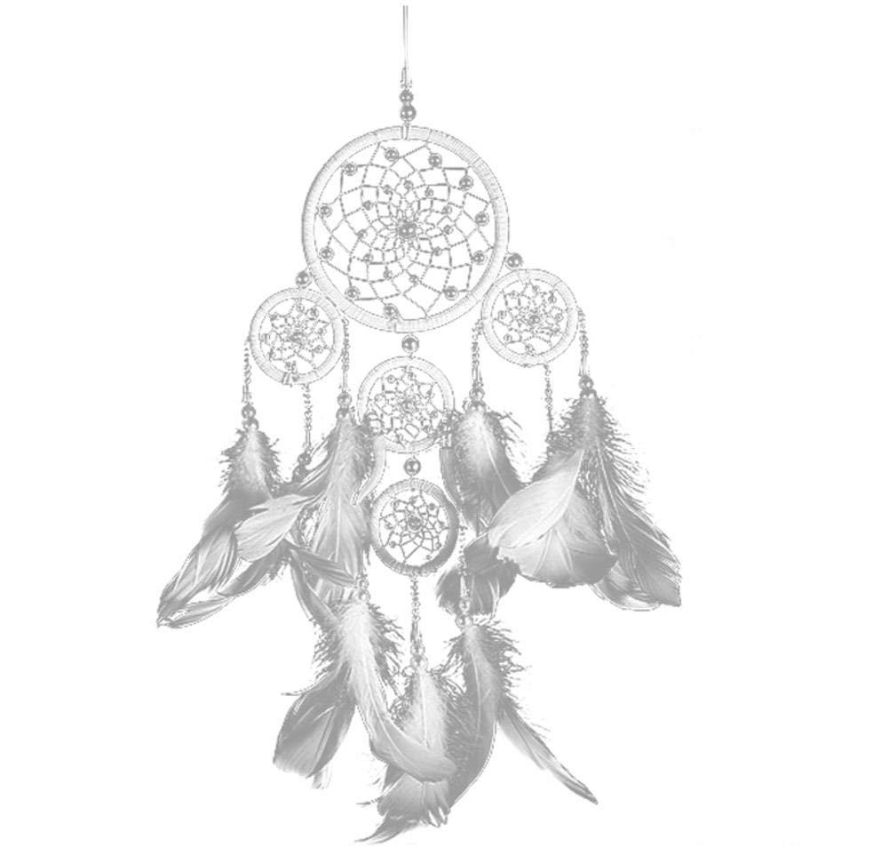 Fancylande Attrape Rêves, Dream Catcher Cristal de Perle Ivoire Cinq Anneaux Capteur de Rêves Dreamcatcher avec Décoration à Suspendre Craft Cadeau