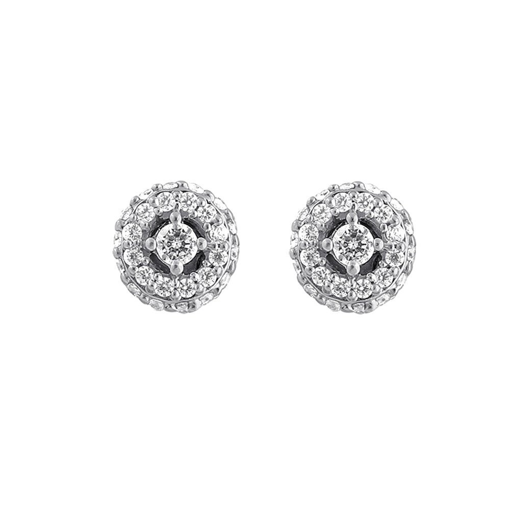 Christmas Gifts Solitaire Diamond Earrings 925 Sterling Silver Halo Round CZ Diamond Earrings for Women