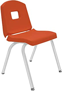 """product image for Creative Colors 1-Pack 16"""" Kids Preschool Stackable Split Bucket Chair in Autumn Orange with Platinum Silver Frame and Self Leveling Nickel Glide"""