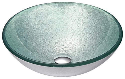 ANZZI Spirito 16.5 in x 16.5 in Modern Tempered Deco Glass Vessel Bathroom Sink in Churning Silver   Lavatory Top Mount Installation Oval Toilet Sink   LS-AZ055