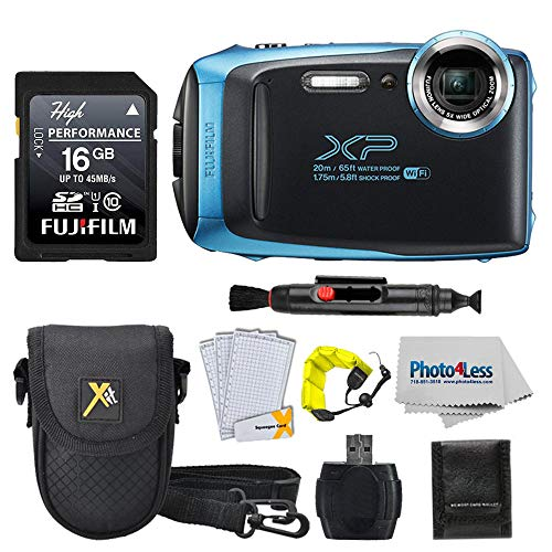 Fujifilm FinePix XP140 Digital Camera + 16GB SD Card + Case + Floating Strap + Cleaning System +Memory Card Wallet + Screen Protectors - Top Value Bundle (Sky Blue) ()