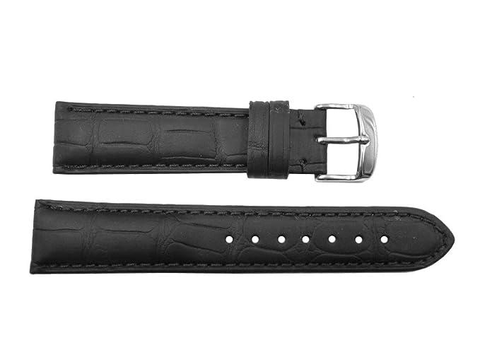 22 mm Correa de piel de cocodrilo auténtica elegante reloj negro banda