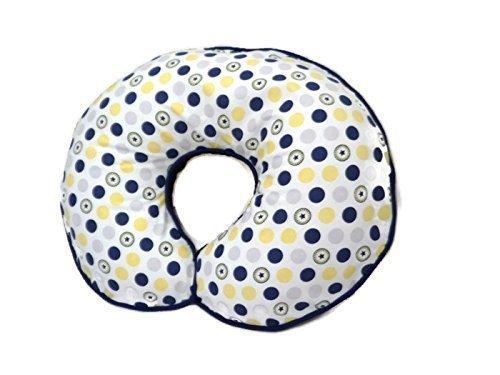 Nursing Pillow Cover Navy Yellow Grey Polka Dots