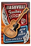 Nashville, Tennesseee - Acoustic Guitar Music Shop (12x18 Aluminum Wall Sign, Wall Decor Ready to Hang)