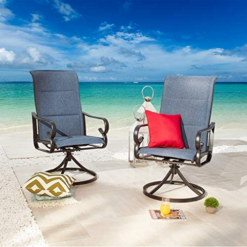 Festival Depot 2 PC Bar Bistro Outdoor Patio Dining 360 Swivel Chairs Furniture Armrest Chair