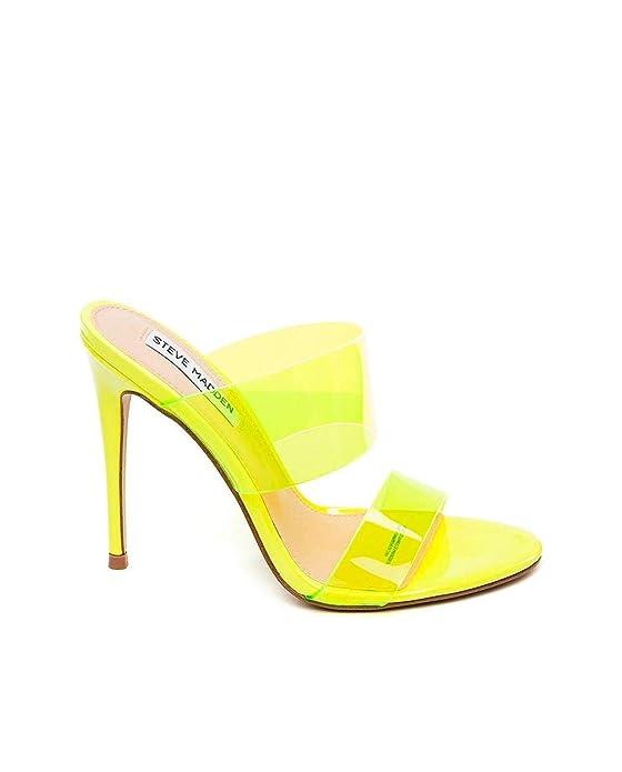 Sandalias Steve Madden con tiras de plástico transparentes amarillo fluor