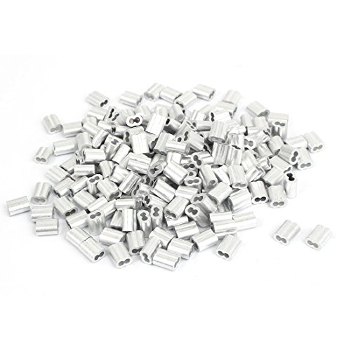 uxcell 2mm Aluminum Double Hole Clamp Clip Sleeve 200 Pcs for Wire Rope