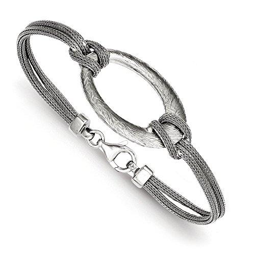 Argent Sterling brossé-Bracelet ovale JewelryWeb filet nouées