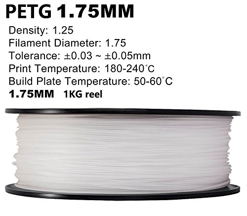 PETG 3D Printer Filament,Dimensional Accuracy +/- 0.05 mm, 1kg / 2.2lbs Spool for 3D Printers-- (1.75mm, Transparent) by Evergreen Tree (Image #2)