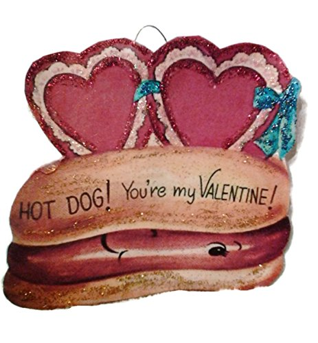 Valentine's Day Card Ornament Decoration Hot Dog Silly Retro Handmade Holiday Gift ()