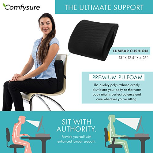 ComfySure Lumbar Support Seat Back Cushion – Memory Foam with Removable Mesh Cover - Lower Back Pain Relief, Helps Posture - Fits Most Office, Desk, Computer Chairs and Car Seats by ComfySure (Image #1)