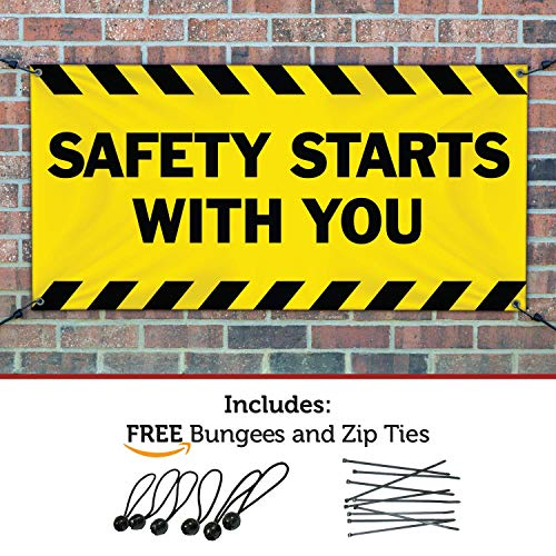 (SAFETY STARTS WITH YOU Banner Sign 2ftX6ft Yellow w/ Black Strips)