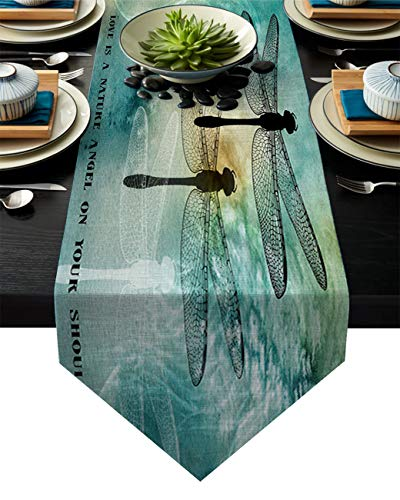 Linen Burlap Table Runner Dresser Scarves, Dragonfly Love Art Design Kitchen Table Runners for Dinner Holiday Parties, Wedding, Events, Decor - 13 x 70 Inch
