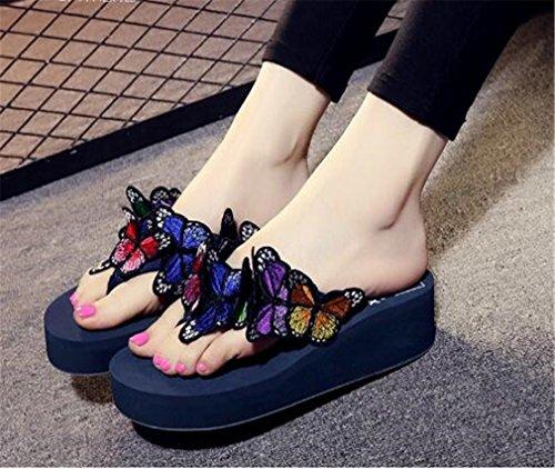 Femme Wedge Papillons Bleu Forme Sandales Thong des Summens Vacances de Tongs Plage Talon Femmes Plate a5qAwST