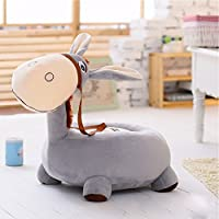 MeMoreCool Adorable Little Donkey Preschool Kindergarten Kids Plush Chair,Animal Sofa Chair,Gifts for Children Boys and Girls on Christmas Birthday,Grey