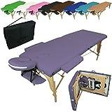 Linxor France ® Table de massage pliante 2 zones en bois avec panneau Reiki + accessoires et housse de transport - Neuf coloris - Norme CE